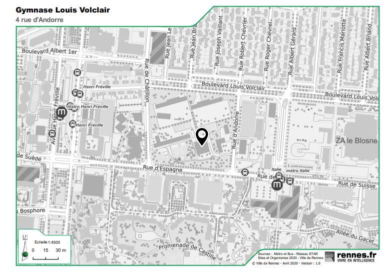 Plan d'accès salle Volclair savate boxe rennaise